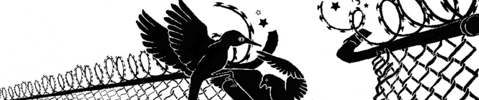 [Zwei Vögel zerrei�en Stacheldrahtzaun]